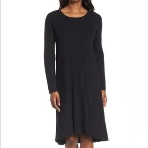 Eileen Fisher Ribbed Wool Dress, L, olive green
